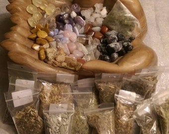 Custom Spell Kit - Intentional Satchel - Magic Satchel - Custom Spell - Healing Tool - Custom Spell Bag- Reiki Infused Herbs, Crystals, Oils