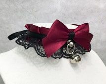 Burgundy and Black Lace Kittenplay Petplay BDSM Collar, Bondage Tug Proof, DDLG Submissive