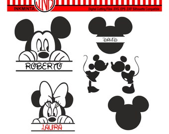 Mickey Mouse SVG File, Mickey Mouse Monogram, Minnie Mouse EPS File, Disney SVG,Digital File, Cuttable Design, Cricut, Silhouette Disney Dxf