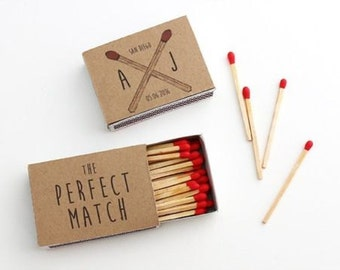 Wedding Favours Matches - Any occasion 10 x Personalised Favours Matchbox 'the Perfect Match' Wedding - Matches
