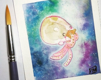 Small original watercolor - illustration - painting - jellyfish - The Jellyfish: Hungry Mood