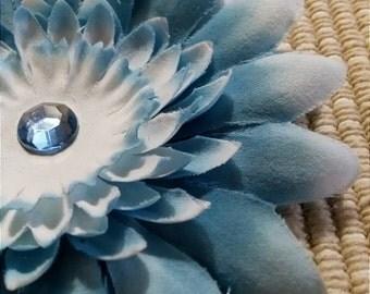 Baby Blue Jewel Center Flower Hair Accessory Headband Pinch Clip Brooch #082