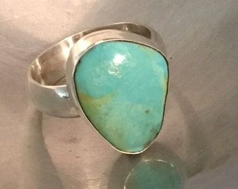 Turquoise and Sterling Contemporary Style Ring Size 10
