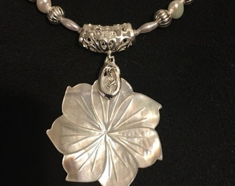 Recycled Shell Flower with Silver and Pearl Necklace and Earrings Set