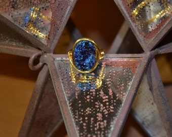 Dark Blue Druzy Ring