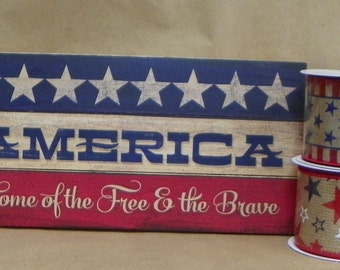 Slatted America reclaimed wood 6 x 10 sign with 2 coordinating ribbons