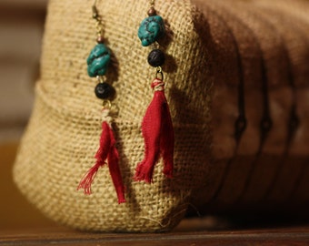 Mixed media fabric and turquoise dangle earrings