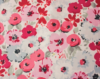 Dear Stella / Floral Fabric / Designer / Off White Grey Magenta Pink / Cotton / Dressmaking Baby Clothing Accessories Quilting / Half Metre