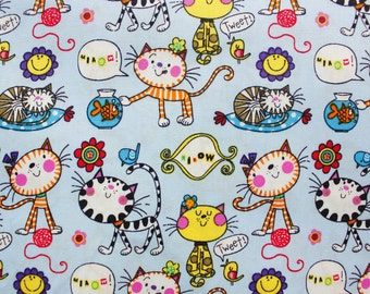 Cotton Fabric ,Japanese Fabric, Kids Fabric, Cat, Fish, Animal Print, Great for Kids Sewing Crafting, Light Blue,Extra Wide, Half Metre