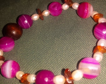 Pink Agate, Pearl, Amber Bracelet