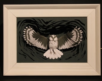Mini Mythical Owl, Paper Cut Kinetic Sculpture.