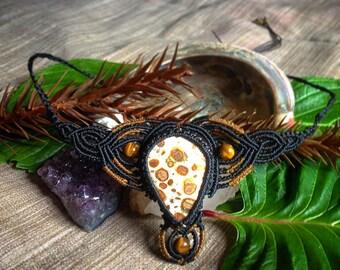 Macramé Necklace with Leopardskin Jasper and Tigers Eye