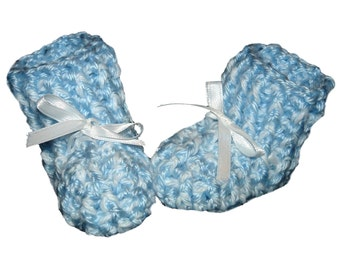 Blue and White Baby Booties