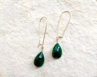 Emerald Clip Lock Earrings, 14k gold-fill