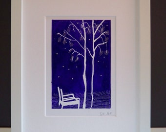 Purple linocut of Ercol chair with twin trees in beechwoods, Chiltern woods linoprint, purple original linocut, modernist chair image