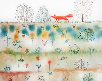 Fox in the tropics. Watercolor print