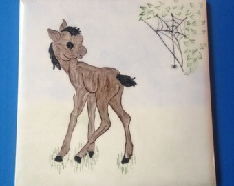 Vintage Hand Painted Wheeling Ceramic Tile/Trivet Picturing Little Horse/Colt/Donkey Turning To Look At Spider Dropping From Spider Web