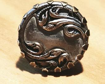 Art Noveau or Deco Ornate Brass Ring; Adjusts