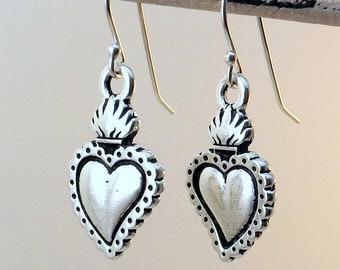Silver Sacred Heart earrings / Silver Milagro heart earrings / Mexican Heart Earrings