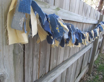Shabby Ragtime Garland: party banner, spring, summer, blue, yellow, flower