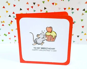 Mousey Gives a Cupcake Love Card