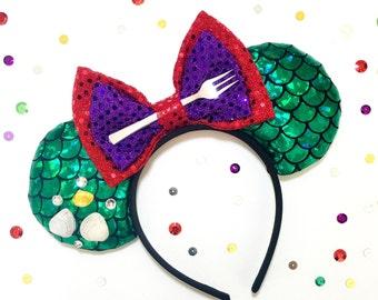 Disney inspired Princess Ariel the little mermaid Minnie Mickey Mouse ears