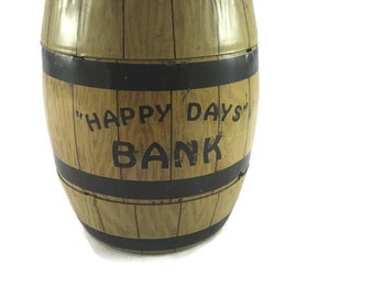Vintage J Chein Tin Happy Days Bank