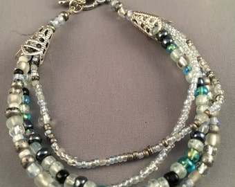 Bracelet with Three Strands of Multi-color Seed Beads