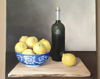 Original still life lemon art Wine art Colorful Painting Original Artwork Fine Art Home Decor Kitchen Art Lemon Painting Wine Decor