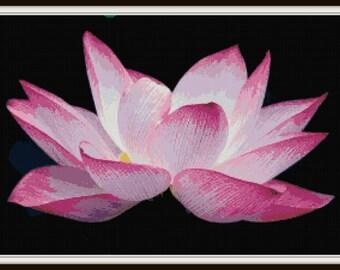 Lotus Flower Cross Stitch - PDF Download