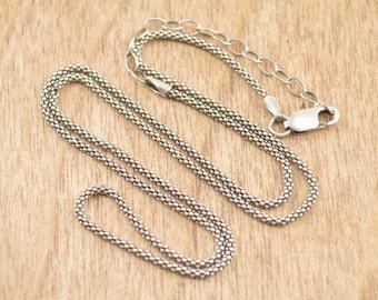 Popcorn Chain Necklace Sterling Silver 2.7g Vintage Estate