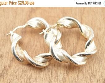 ON SALE Twisted Hoop Earrings Sterling Silver 8.3g Vintage Estate