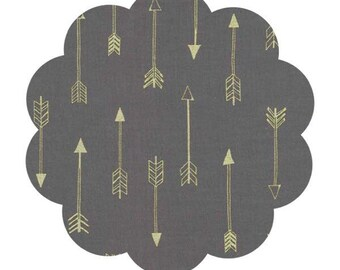 Arrow print fabric. Gray with gold metallic arrows fabric. Michael miller arrows collection fabric. Arrow apparel fabric. Quilt fabric