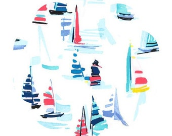 Sail boats cotton fabric. Regatta marine print fabric. Quilt/ apparel cotton fabric. DIY sewing fabric supply. Sailboats sailor fabric.