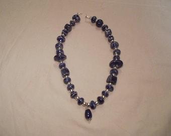 Blunotte raku ceramic with Central drop necklace