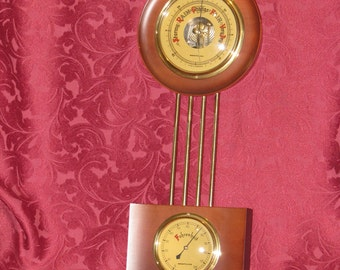 Westclox Vintage German Wall Mount Brass Barometer Thermometer Weather Station Mid-Century