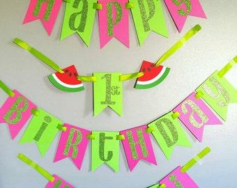 Watermelon theme birthday banner, sweet summertime