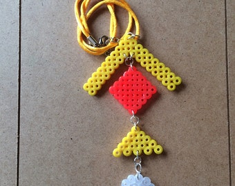 Hama Beads Pendant with cotton necklace