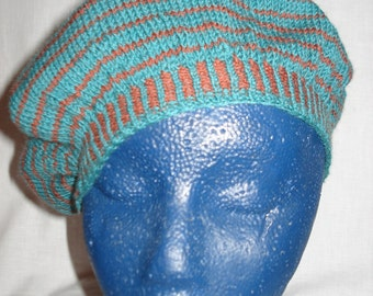 Handmade knitted beret with stripes, brown and green