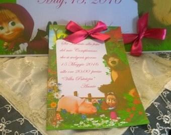 Kids birthday invitation Masha and Customizable Bear