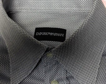 Classic Armani 1990's style steel grey men's shirt in 100% cotton Size S