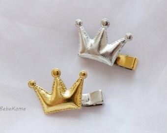 crown hair clip, metallic crown, baby hair clip, newborn hair clip, metallic crown hair clip, girls hair clip, crown bow clip,