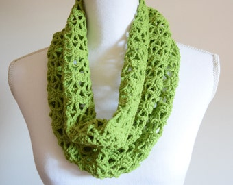 Lightweight breathable lacy knit unique summer cowl scarf ~ lime