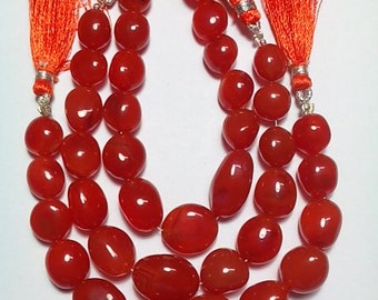 7 Inches Strand CARNELIAN Tumbled Nuged Beads