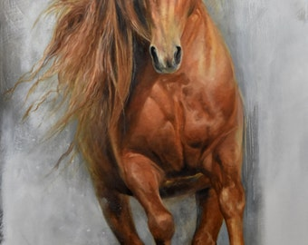 """Original oil 40 """"x 30"""" painting / horse: Face to face"""