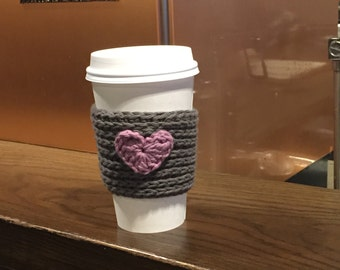 Handmade Reusable Hot Beverage Sleeve with a Heart