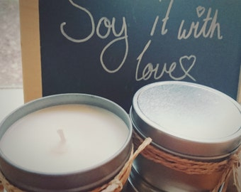 "Handpoured Masculine Soy Candle ""Ginger Ale"" . Tin. 100% Soy. Natural."