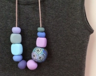 Spiral square cool colours necklace