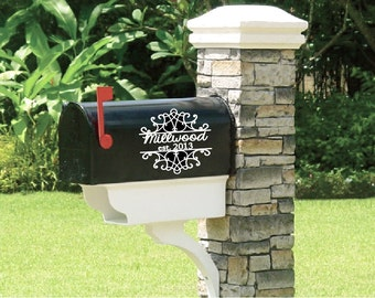Fancy flourish mailbox decal. Works great on mailboxes and other home decor.