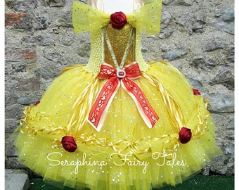 Yellow Princess Tutu Dress - Lined Yellow, Gold & Red Rose Sparkly Ball Gown. Handmade by Seraphina Fairy Tales.